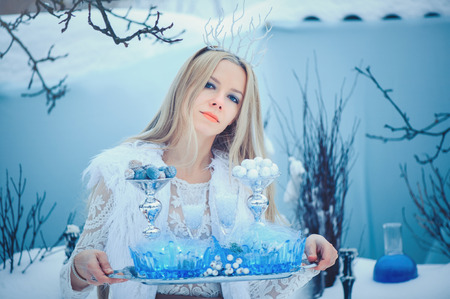 Winter Beauty Woman. Beautiful fashion model girl with snow hairstyle and makeup in the winter forest. Banco de Imagens - 117089451