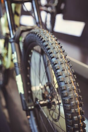 Tire close-up on a mountain bike