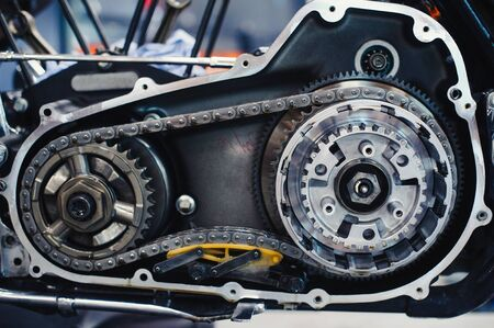 Serious motorcycle repair disassembled inside, engine service concept Stock Photo