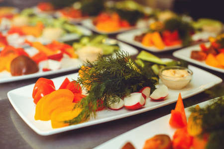 Fresh vegetable salad with radish, cucumber, bell pepper, tomatoes and herbs in a ceramic bowl restaurant dish. Selective focus. Banque d'images