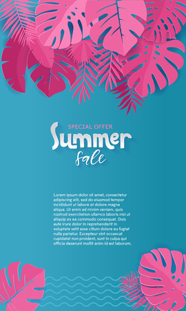 Vertical Summer Sale paper cut Background with Palm, monstera, banana pink Leaves with place for your text.Trendy Jungle banner. Tropical exotic plants. Bright Colorful jungle. Vector Illustration