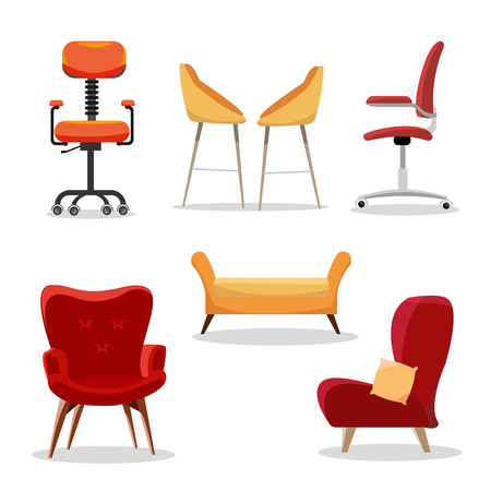 Set of Chairs. Comfortable furniture armchair and modern seat design in interior illustration. business office-chairs or easy-chairs isolated on white background Flat cartoon style vector illustration