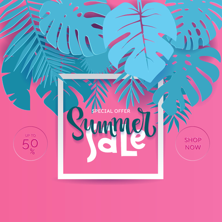 Square Summer Tropical palm monstera leaves in trandy paper cut style. White frame 3d letters SUMMER SALE hiding in exotic blue leaves on pink background for advertising. Vector card illustration.