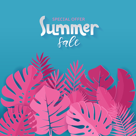 Square panner of Special offer Summaer sale with pink palm, monstera, banana leaves on blue background with hand lettering.  イラスト・ベクター素材