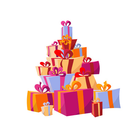 Set of piles of colorful gift boxes. Mountain gifts. Beautiful Present box with Bows. Vector Illustration.Surprise template for posters, banners. Christmas gift box. New Year's and Christmas Shopping