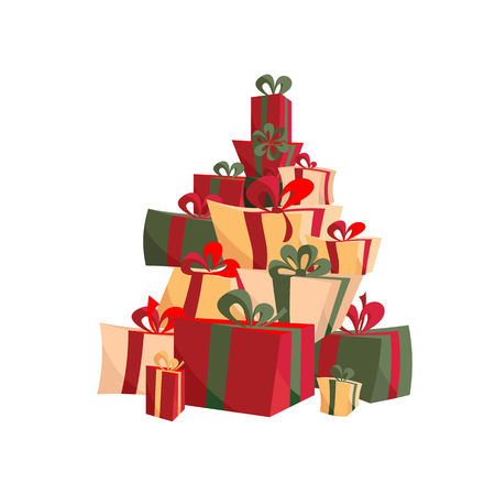 Set of Christmas gifts with ribbons, bows in red and green. Stack of presents in various shape boxes tied colored ribbons. Beautifully wrapped surprise. Flat Illustration for decoration, companies ad