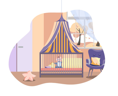 Scene in interior of the nursery with furniture. Baby in bed under canopy next to soft armchair. Boys Room with window and cupboard. Vector flat cartoon illustration isolated in white background Vettoriali
