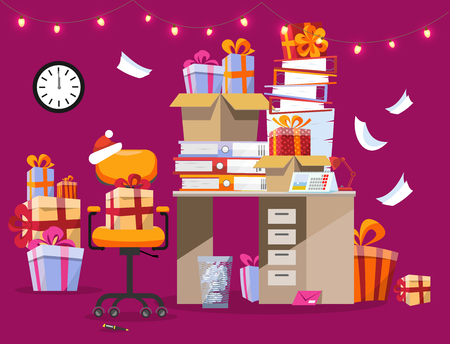 Festive mood in the office. Christmas interior with desk on which there are piles of gifts and folders with paper mixed. garland burns over table. Its midnight on the clock. Flat cartoon vector