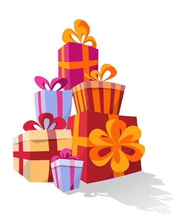 Stapel von bunten gebogenen Geschenkboxen. Berg Geschenke. Süße Geschenkbox mit Schleifen. Vector Illustration.Surprise-Vorlage für Poster, Banner.Weihnachtsgeschenkbox. Silvester und Weihnachten Vektorgrafik