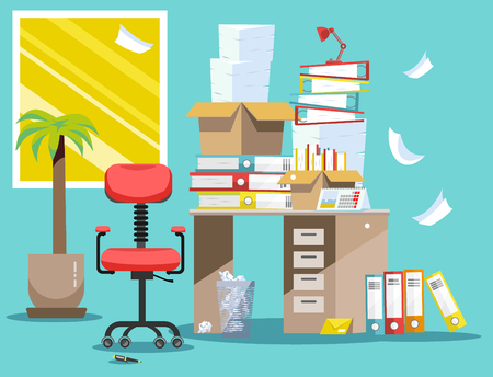 Period of accountants and financier reports submission. Pile of paper documents and file folders in cardboard boxes on office table. Flat vector illustration windows, chair and waste-basket