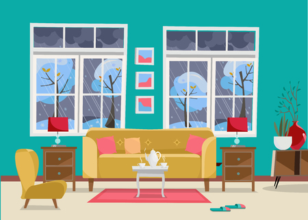 Salon avec meuble-canapé avec table, table de chevet, tableaux, lampes, vase, tapis, ensemble de porcelaine, fauteuil moelleux dans la chambre avec deux grandes fenêtres.Paysage d'hiver extérieur avec arbres. Vecteur de dessin animé plat