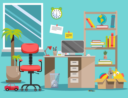 Interior nursery. Boys room with table, computer, bookshelf,toys in boxes. Flat cartoon vector illustration.Cozy interior of childrens room with toys, furniture, window. Teenager room with workplace