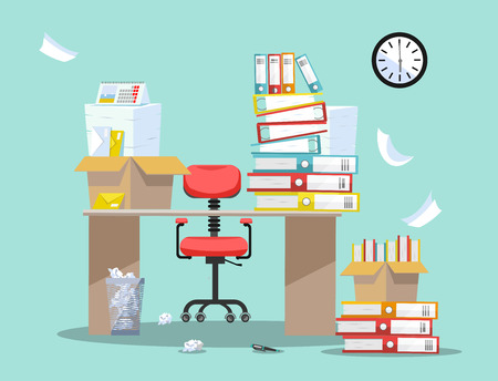Period of accountants and financier reports submission. Office chair behind table with piles of paper documents and file folders in cardboard boxes on office table. Flat cartoon vector illustration Vektoros illusztráció