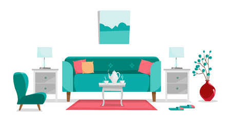 Canapé turquoise avec table, tables de chevet, tableau, lampes de table, vase, tapis, fauteuil moelleux et chaussons dans le salon. Service à café en porcelaine de cafetière et deux tasses sur table. Vecteur de dessin animé plat