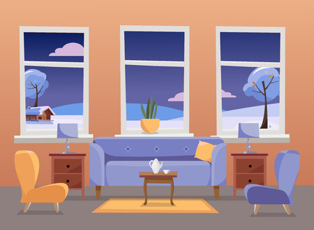 Living room interiorin. Violet sofa with table, nightstand, paintings, lamps, vase, carpet, porcelain set, soft chairs in room with large window. Outside winter landscape. Flat cartoon illustration
