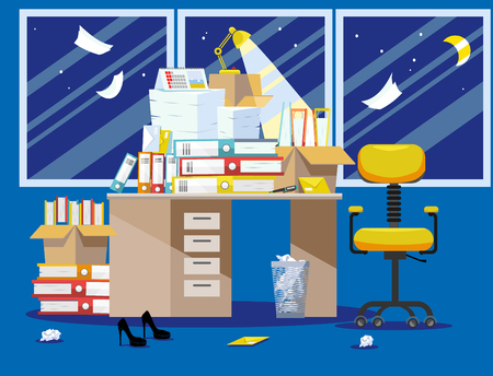 Period of accountants and financier reports submission. Pile of paper documents and file folders in cardboard boxes on office table. Flat vector illustration windows, chair and waste-basket Vektoros illusztráció