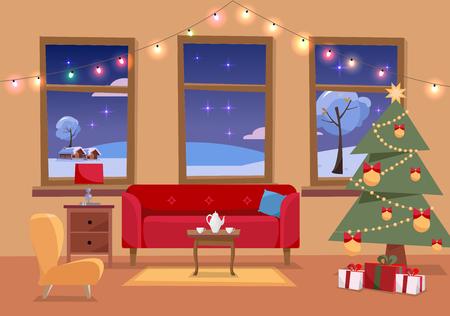Ilustración interior plana de Navidad de la sala de estar decorada para las vacaciones. Acogedor interior de la casa con muebles, sofá, sillón, tres ventanas al paisaje nevado de invierno, árbol de Navidad, regalos, guirnalda