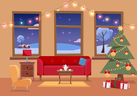 Weihnachtsflache Innenillustration des Wohnzimmers, das für Feiertage verziert wird. Gemütliches Interieur mit Möbeln, Sofa, Sessel, drei Fenstern zur verschneiten Winterlandschaft, Weihnachtsbaum, Geschenken, Girlande gar