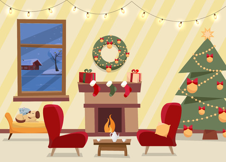 Christmas flat vector of decorated living room. Cozy home interior with furniture, sofa, window to winter evening landscape, Christmas tree with gifts, garland, fireplace, bench with sleeping cat, dog Çizim
