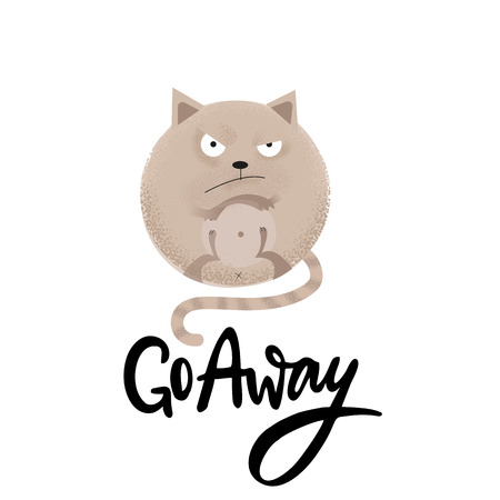 Go away - funny, comical, black humor quote with angry round car.Unique flat textured illustration in cartoon style with brushpen lettering for social media,poster,greeting card, banner, textile, mug Stock Illustratie