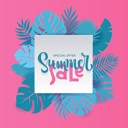 Monstera palm leaves Summer Sale Banner design in paper cut style. Origami white sheet with hand lettering Special offer with shadow. Summertime jungle floral background. Square frame for text. Illusztráció