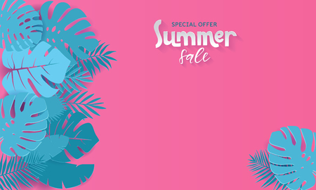 Horizontal summer sale banner with paper cut tropical leaves on pink background. Exotic floral design for banner, invitation, , web, greeting card with place for text. Papercut vector illustration