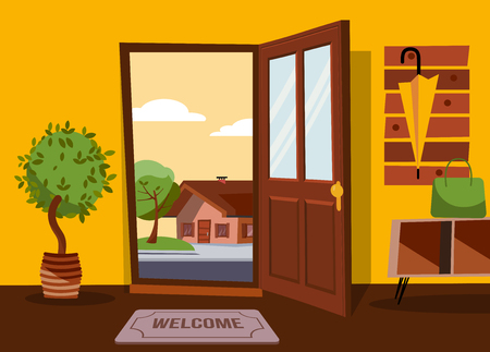 The interior of hallway in flat cartoon style with open door overlooking summer landscape with small country house and green tree.Hanger with umbrella on wall. Table with bag stands under coat rack. Ilustração