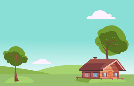 Vector flat fair weather summer landscape with small country wooden house and green trees on the green grass hills. Warm summer background in cartoon style. Free space for your text.
