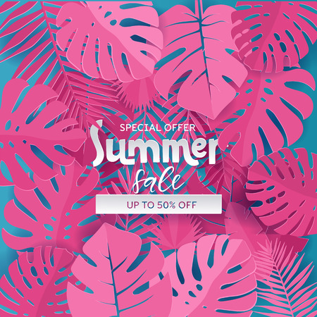 Square Composition with paper cut pink jungle leaves on blue background. Lettering text is hiding in Tropical exotic plants. Special offer up to 50 pecent off template for ad design, banner, flyer.