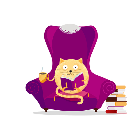 Hand drawn fantasy round cat sitting in big purple armchair and reading book. Relaxing home reading concept. Cute kitty with glasses drinking cup of tea. Vector flat cartoon textured illustration.