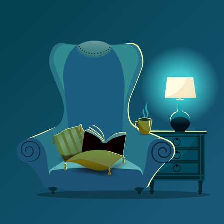 Vintage sofa armchair with yellow pillows with tassels and lace napkin on back of chair at night in the light of desk lamp. Gradient Soft chair with book, mug on armrest. Isolated flat cartoon vector