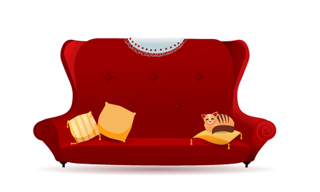 Big red velvet sofa with yellow pillows and cat. Cozy gradient couch with lace napkin on the back. Isolated flat cartoon vector illustration on white background.