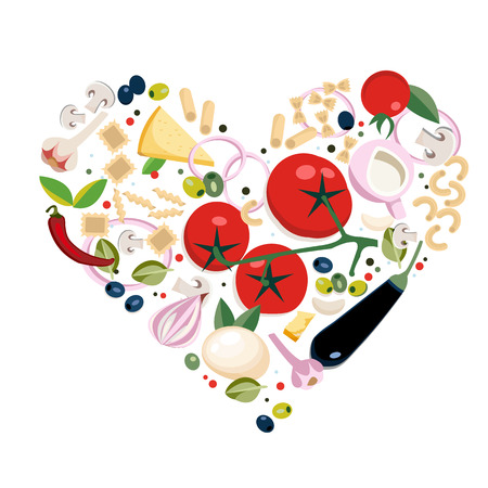 Vegan Italian pasta ingredients . Illustration in heart shape. Great for menu, banner, flyer, card, business promote. Set of Italian food flat objects, symbols and items. Heart form composition