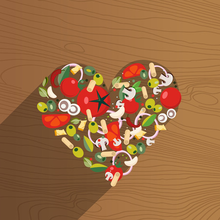 Heart shape italian food. Ingredients-tomato, olive, onion, mushroom, pasta, cheese,chili,garlic- on wooden background with shade.Bright picture with Italy cuisine theme items.Flat vector illustration Imagens - 122743409