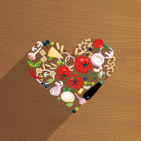 Ripe vegetables, cheeses, pasta, mushrooms and spices laid out in the shape of a heart on wooden background. Love for italian food. Tasty ingredients of Mediterranean cuisine. Flat vector illustration