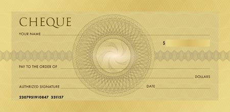 Check template, Chequebook template. Blank gold business bank cheque with guilloche pattern rosette and abstract watermark. Background for voucher, banknote design, gift certificate, ticket, coupon