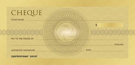 Modèle de chèque, modèle de chéquier. Chèque bancaire d'entreprise en or blanc avec rosette guillochée et filigrane abstrait. Arrière-plan pour bon, conception de billets de banque, certificat-cadeau, billet, coupon