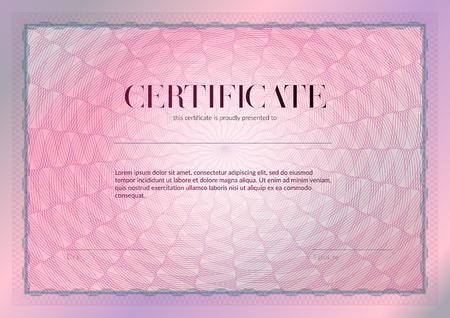 Horizontales Zertifikat mit Guilloche- und Wasserzeichenvektorschablonendesign. Diplom-Design-Abschluss, Auszeichnung, Erfolg. Hintergrund der Auszeichnung. Rosa Geschenkgutschein ohne Guilloche-Muster-Rosette. Vektorgrafik