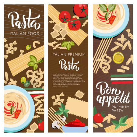 Set ot 3 Italian food banners with pasta with Italy flag. Farfalle, Ravioli, Penne, Macaroni, Macheroni, Fusilli, Tortellini, Spaghetti, Fetuccine, Lasagne with greenery seasoning, oil, tomatos vector