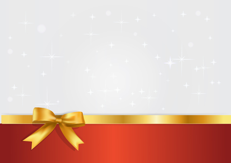 Holiday white and red banner with gift glossy realistic gold bow and ribbon. Glitter light silvet starry background with golden bow decoration. Vectir template with free space for yuor text.