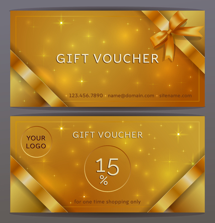 Vector set of front and back sides of luxury gift voucher with silver ribbons, bows. Isolated Elegant sparkling, shining template for holiday gift card, coupon and certificate. Place for logo