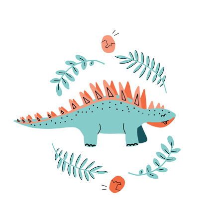 Card template with cute Dino. Hand drawn scandinavian graphic for typography poster, card, label, brochure, flyer, page, banner, baby wear, nursery. Vector illustration in blue and vilet Illustration
