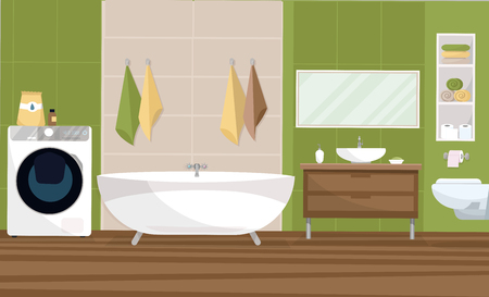Interior bathroom in a modern style design with a tile of 2 colors green and beige. Bathtub, sink stand, hanging toilet, shelf with towels, large washing machine. Flat cartoon vector illustration