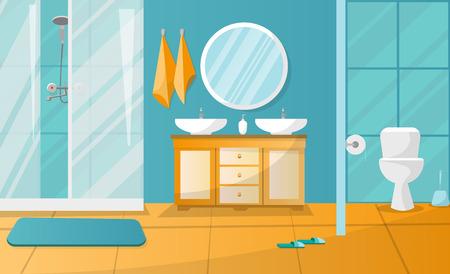 Nowoczesne wnętrze łazienki z kabiną prysznicową. Meble łazienkowe - szafka z dwoma umywalkami, ręczniki, mydło w płynie, okrągłe lustro, toaleta. Ilustracja wektorowa płaski kreskówka