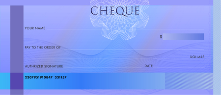 Check template, Chequebook template. Blank blue business bank cheque with guilloche pattern rosette and abstract watermark. Background for voucher, banknote design, , gift certificate, ticket, coupon