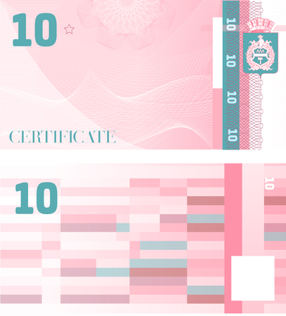 Gift certificate Voucher template 10 with guilloche pattern watermarks and border. Background usable for coupon, banknote, money design, currency, note, check etc. Vector in pink and turquoise color
