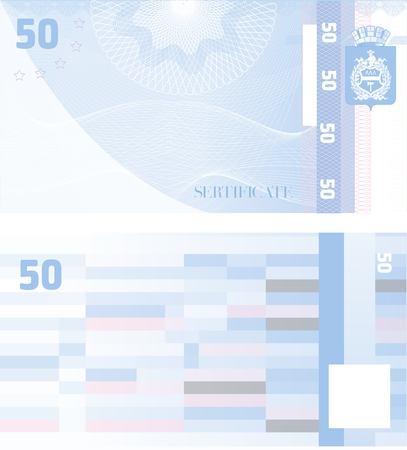 Gift certificate Voucher template 50 with guilloche pattern watermarks and border. Background usable for coupon, banknote, money design, currency, note, check etc. Vector in blue color Иллюстрация