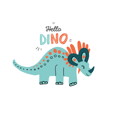 hand grawn simple Illustration of cute Triceratops isolated on white background with lettering quote hello dino. Funny cartoon dinosaur. Vector illustration in scandinavian flat style. Pastel colors.  イラスト・ベクター素材