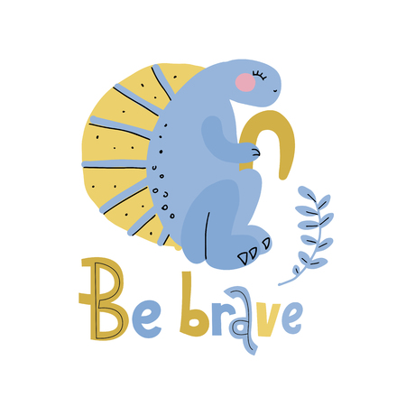 Blue dinosaur with yellow crest flat hand drawn cartoon illustration with lettering be brave. Vector clip art of scandinavian style character for children, game, book, textile on white background.