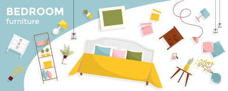 Horizontal banner with a lot of flying Bedroom furniture and text. Interior items - bed, nightstands, plants, pictures, pillows. Cozy floating elegant furniture. Flat cartoon style vector illustration